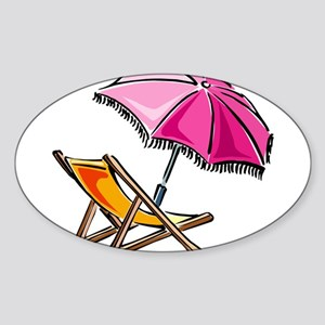 BEACH CHAIR [3] Sticker (Oval)